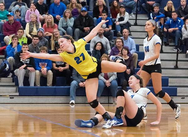 10/30/18 Wesley Bunnell | Staff Southington girls volleyball was defeated 15-10 in the 5th set by Farmington in a 2nd round CCC Tournament game on Tuesday night at Southington High School. Lynsey Danko (27) and Haley Larrabee (7).