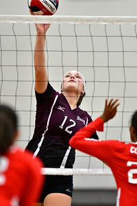 10/30/2018 Mike Orazzi | Staff Bristol Central's Kathryn Ross (12) during the CCC volleyball tournament at Central on Tuesday.