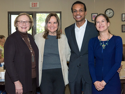 10/30/18  Wesley Bunnell | Staff  State Senator Terry Gerratana Democratic candidate for Secretary of the State Denise Merrill, Democratic candidate for Treasurer Shawn Wooden and Democratic candidate for Lt. Governor Susan Bysiewicz pose for a photo at the New Britain Senior Center during a visit by Democratic candidates for state office.