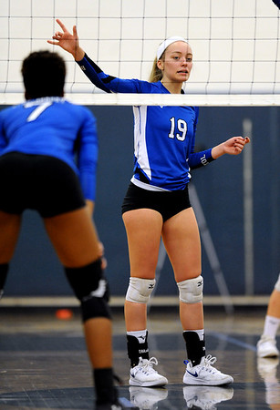 10/30/2018 Mike Orazzi | Staff Bristol Eastern's Amber Blais (19) during the CCC volleyball tournament at Eastern Tuesday.