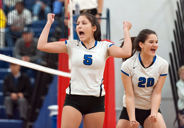 10/30/18 Wesley Bunnell | Staff Southington girls volleyball was defeated 15-10 in the 5th set by Farmington in a 2nd round CCC Tournament game on Tuesday night at Southington High School. Olivia Carpenter (5) and Kayli Garcia (20).