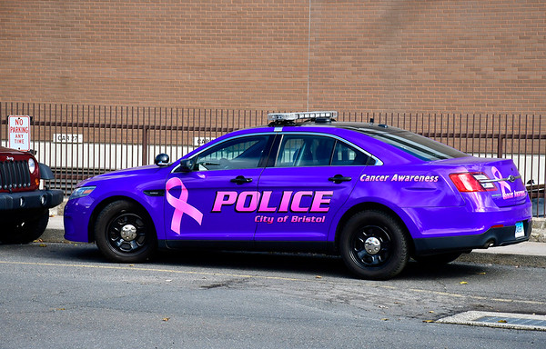 10/30/2018 MIke Orazzi | Staff Police wrapped a cruiser in lavender, which will be on display and out patrolling, looking for signatures and donations for cancer awareness.