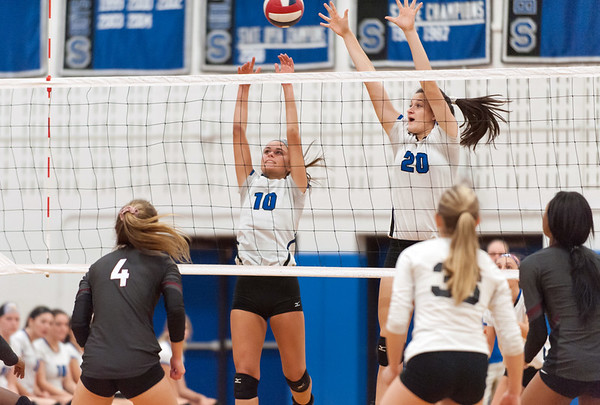 10/30/18 Wesley Bunnell | Staff Southington girls volleyball was defeated 15-10 in the 5th set by Farmington in a 2nd round CCC Tournament game on Tuesday night at Southington High School. Jenna Martin (10) and Kayli Garcia (20).
