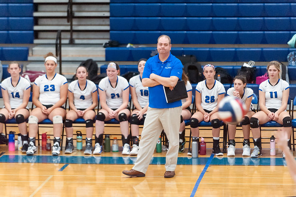 10/30/18 Wesley Bunnell | Staff Southington girls volleyball was defeated 15-10 in the 5th set by Farmington in a 2nd round CCC Tournament game on Tuesday night at Southington High School. Head Coach Rich Heitz stands in front of the Southington bench late in the match.