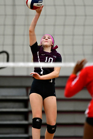 10/30/2018 Mike Orazzi | Staff Bristol Central's Jadyn Bauer (10) during the CCC volleyball tournament at Central on Tuesday.