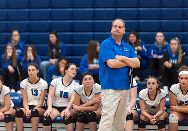 10/30/18 Wesley Bunnell | Staff Southington girls volleyball was defeated 15-10 in the 5th set by Farmington in a 2nd round CCC Tournament game on Tuesday night at Southington High School. Head Coach Rich Heitz watches the action.