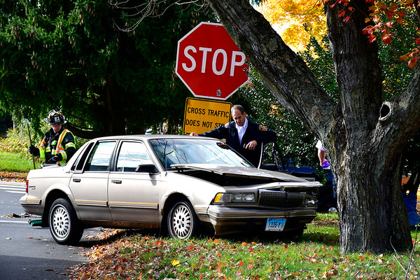 10/30/2018 MIke Orazzi | Staff The scene of a two-car crash at the intersection of East Road and Willis Street in Bristol Tuesday.