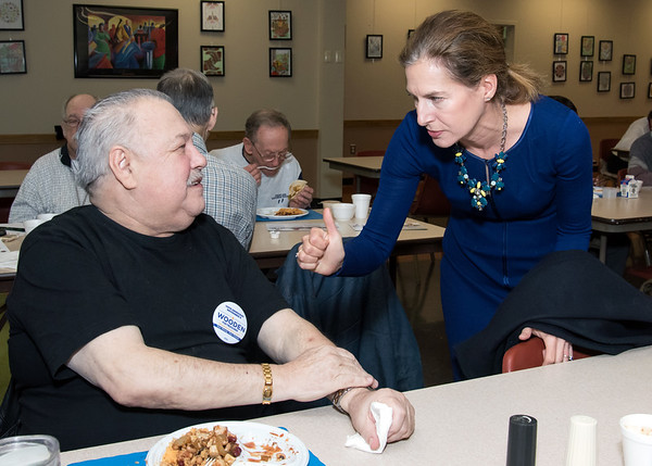 10/30/18 Wesley Bunnell | Staff Democratic candidate for Lt. Governor Susan Bysiewicz speaks with Edward Suchecki at the New Britain Senior Center during a visit by Democratic candidates for state office.