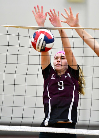 10/30/2018 Mike Orazzi | Staff Bristol Central's Ashleigh Clark (9) during the CCC volleyball tournament at Central on Tuesday.