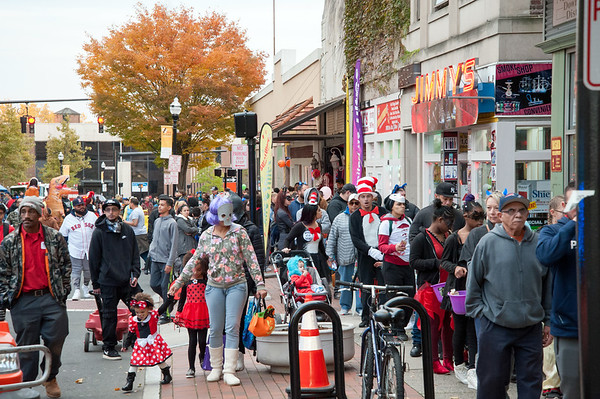 10/31/18 Wesley Bunnell | Staff Trick or treaters line West Main St during during New Britain's annual Halloween Safe Zone event on Halloween night.