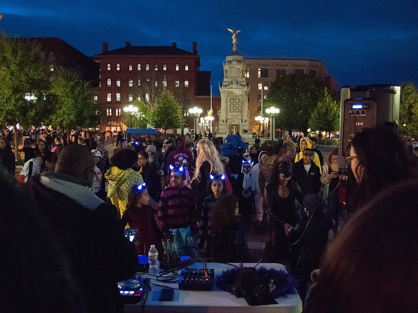 10/31/18 Wesley Bunnell | Staff Visitors to New Britain's annual Halloween Safe Zone Event gather at Central Park on Wednesday evening.