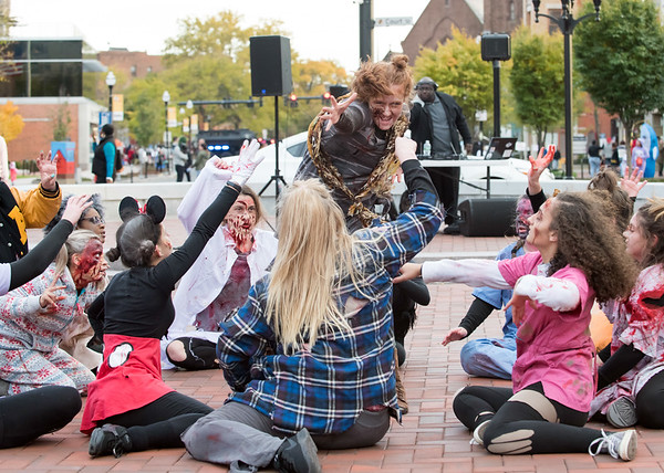 10/31/18 Wesley Bunnell | Staff Dancers from the YWCA Dance Team perform to Michael Jackson's Thriller on Wednesday night at Central Park during New Britain's Halloween Safe Zone event.