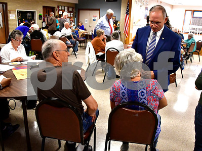 10/3/2018 Mike Orazzi | Staff Henri Martin during a meet and greet with candidates at the Bristol Senior Center Wednesday.