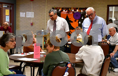 10/3/2018 Mike Orazzi | Staff Kevin Fuller and Whit Betts during a meet and greet with candidates at the Bristol Senior Center Wednesday.