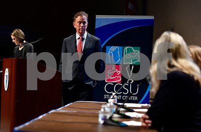 10/3/2018 Mike Orazzi | Staff Connecticut Gubernatorial candidate Ned Lamont during a gubernatorial candidate forum at CCSU Wednesday evening.