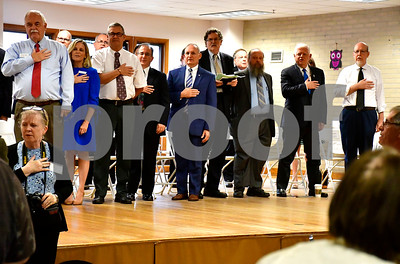 10/3/2018 Mike Orazzi | Staff Candidates say the Pledge of Allegiance at the start of a meet and greet at the Bristol Senior Center Wednesday.