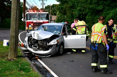 10/9/2018 Mike Orazzi | Staff The scene of a one-vehicle crash on Frederick Street in Bristol Tuesday afternoon. The drive was transported from the scene.