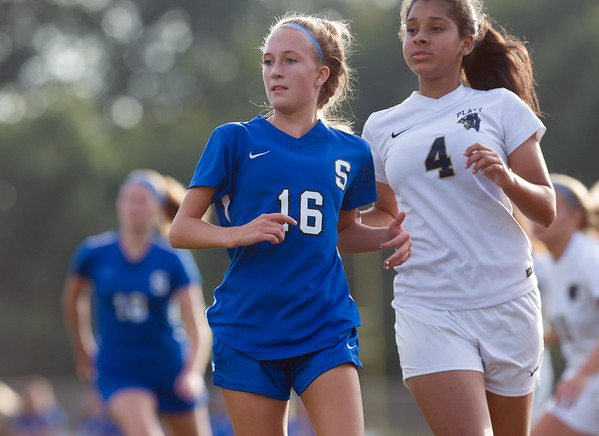 10/09/18 Wesley Bunnell | Staff Southington girls soccer defeated Platt at home on Tuesday afternoon. Savannah Krom (16).