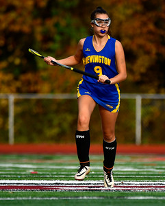11/1/2018 Mike Orazzi | Staff Newington's Chloe Mamaclay  (9) during field hockey at Farmington High School Thursday.