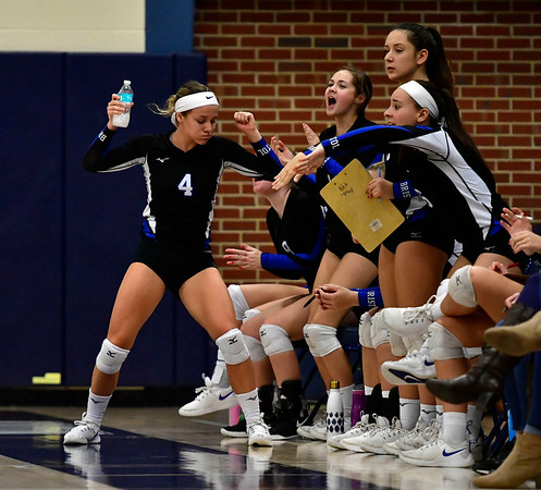 11/1/2018 Mike Orazzi   Staff Bristol Eastern celebrates during the CCC Volleyball Tournament at Avon High School Thursday night.