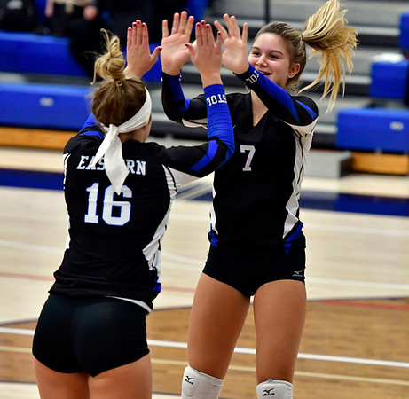 11/1/2018 Mike Orazzi   Staff Bristol Eastern's Emma Rodjenski (16) and Zoe Lowe (7) during the CCC Volleyball Tournament at Avon High School Thursday night.