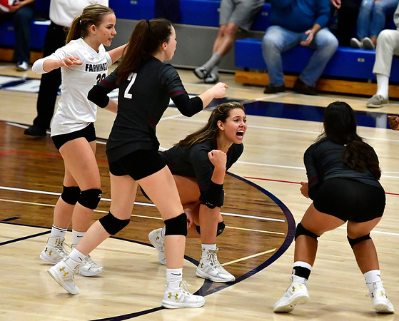 11/1/2018 Mike Orazzi   Staff Farmington High Schools Carolyn Piera (36), Katherine Siuta (2) and Holly Picchioni (10) during the CCC Volleyball Tournament held at Avon High School Thursday night.
