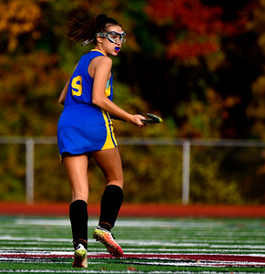 11/1/2018 Mike Orazzi   Staff Newington's Chloe Mamaclay  (9) during field hockey at Farmington High School Thursday.