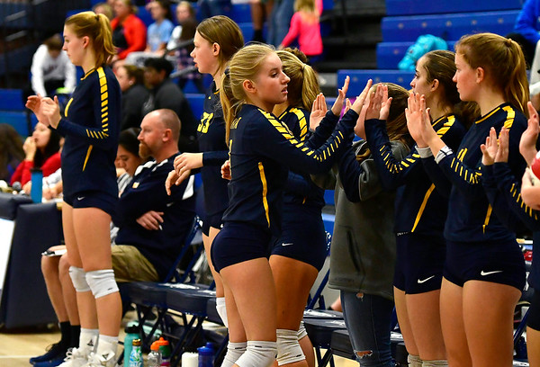11/1/2018 Mike Orazzi   Staff RHAM High School's Lexi Massey (3) during the CCC Volleyball Tournament at Avon High School Thursday night.