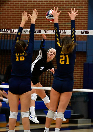 11/1/2018 Mike Orazzi   Staff Bristol Eastern's Olivia Beaudoin (4) during the CCC Volleyball Tournament at Avon High School Thursday night.