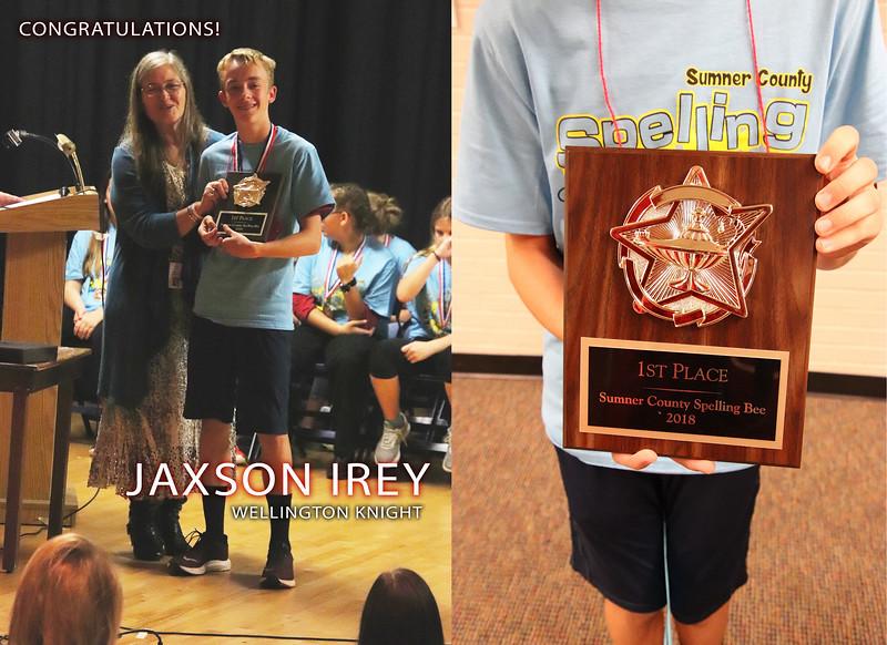 Jaxson Irey 1st Place Spelling Bee