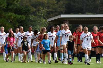 The Davidson Women's Soccer team hosted Girl Scouts and Brownies at their game vs. Dayton on Sunday afternoon. The scouts walked out with the 'Cats, served as ball assistants on the sidelines, and played in the halftime dribbling and shooting challenge.