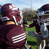 South St. Paul breaks after a huddle during the Class 4A, Section 3 semifinal at South St. Paul on Saturday, Oct. 26, 2019. South St. Paul earned a 29-6 victory over St. Paul Johnson. (Jack Rodgers / Pioneer Press)