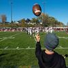 Jackson Schultz, 11, tosses a football on the sidelines during the Class 4A, Section 3 semifinal at South St. Paul on Saturday, Oct. 26, 2019. South St. Paul earned a 29-6 victory over St. Paul Johnson. (Jack Rodgers / Pioneer Press)