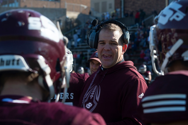 South St. Paul Head Coach Chad Sexauer speaks to his team during a timeout in the Class 4A, Section 3 semifinal on Saturday, Oct. 26, 2019. South St. Paul earned a 29-6 victory over St. Paul Johnson. (Jack Rodgers / Pioneer Press)