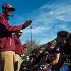 South St. Paul discusses an upcoming play during a timeout in the Class 4A, Section 3 semifinal at South St. Paul on Saturday, Oct. 26, 2019. South St. Paul earned a 29-6 victory over St. Paul Johnson. (Jack Rodgers / Pioneer Press)