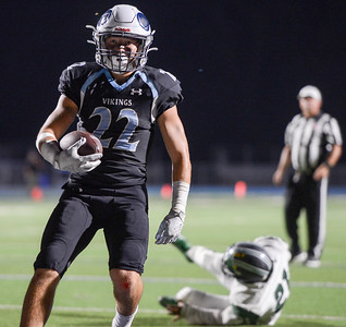 Pleasant Valley's Aidan Parks walks into the end zone for a second quarter touchdown during the Vikings' game against River Valley on Sept. 13 in Chico. (Matt Bates -- Enterprise-Record)