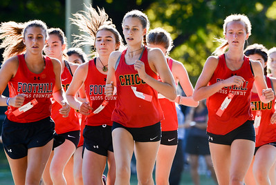 Chico's Sophie Sims leads a pack of runners during a league meet at Hooker Oak Park on Wednesday in Chico. (Matt Bates -- Enterprise-Record)