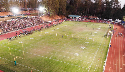 Aa aerial view of the Paradise high school football home opener on Aug. 23 in Paradise. (Matt Bates -- Enterprise-Record)