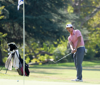 Myoung Kim closly watches a chip shot during the final round of the Wildcat Invitational at Butte Creek Country Club on Tuesday in Chico. (Matt Bates -- Enterprise-Record)