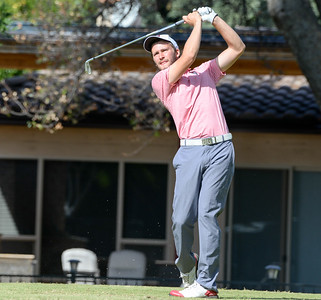 Christopher Colla tees off during the final round of the Wildcat Invitational at Butte Creek Country Club on Tuesday, October 15, 2019, in Chico, California. (Matt Bates -- Enterprise-Record)