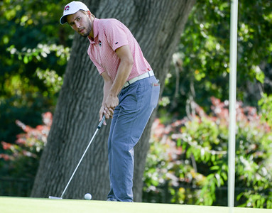 Christopher Colla focuses on a putt during the final round of the Wildcat Invitational at Butte Creek Country Club on Tuesday, October 15, 2019, in Chico, California. (Matt Bates -- Enterprise-Record)