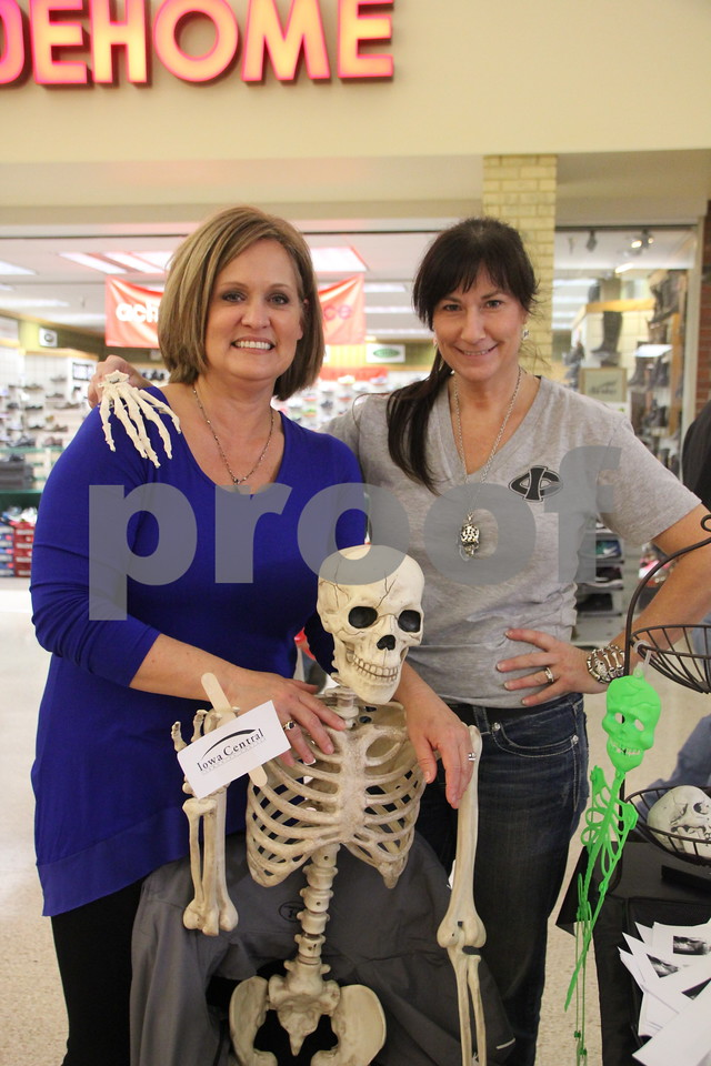 On Saturday, October 24, 2015, Crossroads Mall in Fort Dodge held the Kidzmania event. Seen here is: (left to right) Kelly Kruger, one of the instructors  from Iowa Central Community College Radiology program and Chantel Burns, radiology program coordinator. They had one of the many booths at the event.