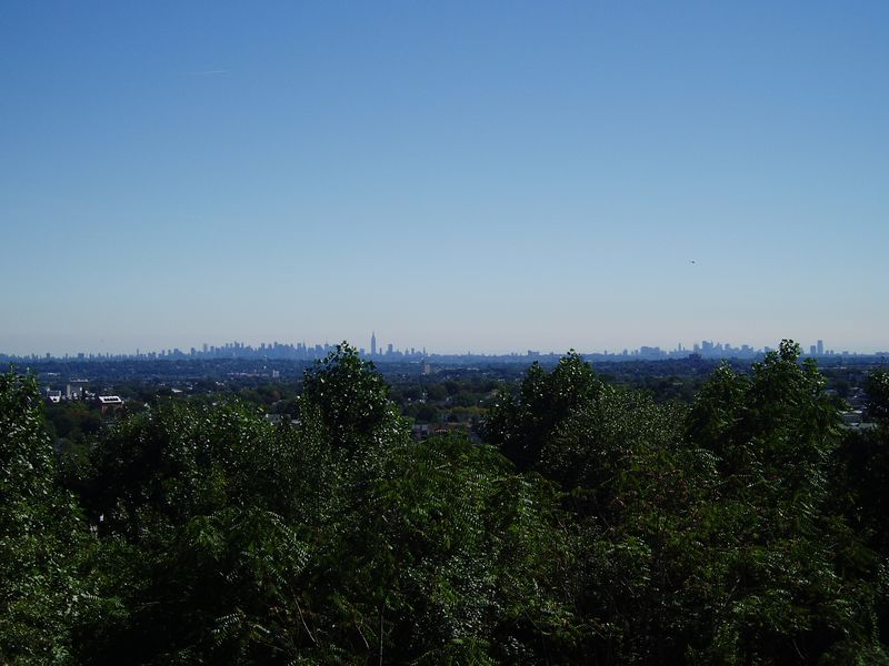 This shot is from Castle Lambert looking at Manhattan several miles away. Just left of center is midtown with the Empire State building and to the right side is downtown and part of Newark, NJ.