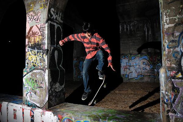 11/21/09 Jonas skateboarding on the Dequindre Cut Greenway