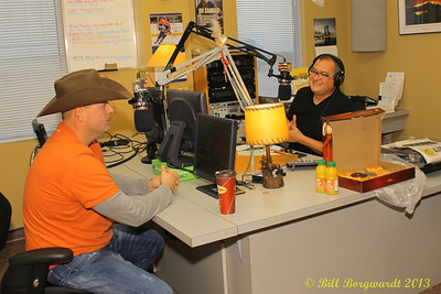 Gord Bamford at CFWE on air with Wally Desjarlais.