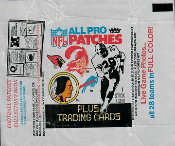 1977 Fleer Patches Wrapper with Redskins Logo