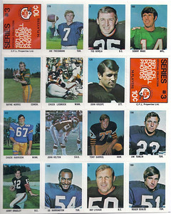 1971 Sargent CFL Stickers Sheet #3 Joe Theismann