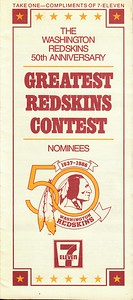 1986 7-Eleven Greatest Redskins Contest Voting Ballot.