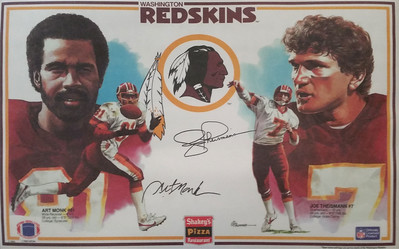 1985 Shakey's Pizza Placemats Art Monk and Joe Theismann