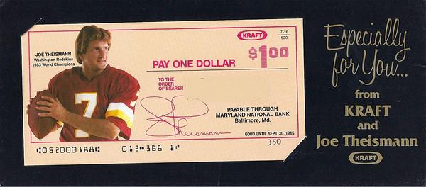 1984 Kraft Coupon Joe Theismann